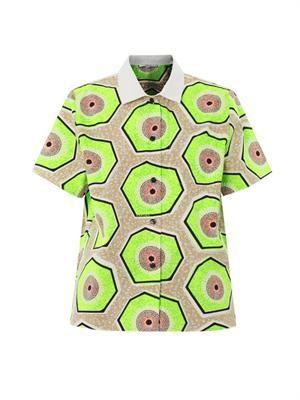 Kiwi-print short-sleeved shirt