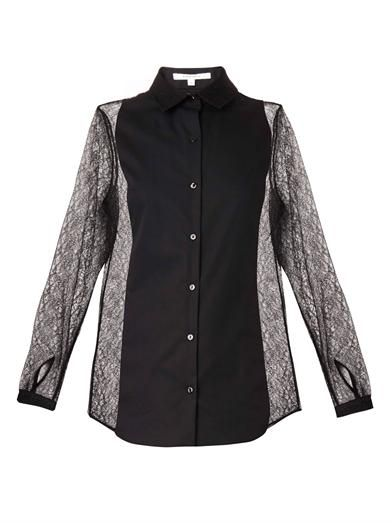 Carven Dentelle-lace and cotton blouse