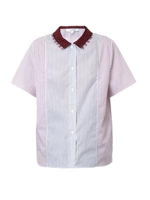 Contrast-collar pinstripe cotton shirt