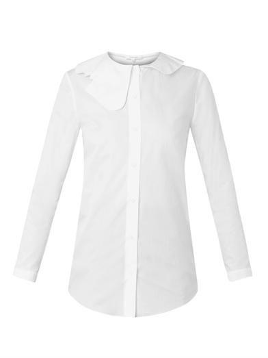Carven Cut-out collar cotton shirt