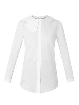 Cut-out collar cotton shirt