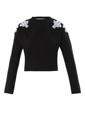 Floral patchwork cotton sweatshirt