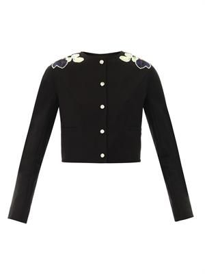 Floral appliqué collarless jacket
