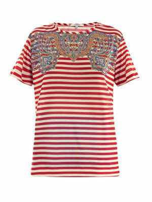 Paisley and stripe print T-shirt