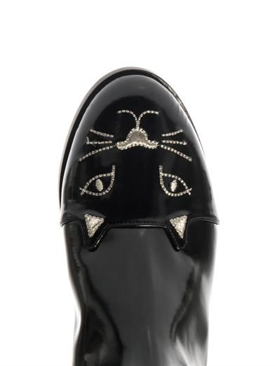 Charlotte Olympia Chelsea Cat leather boots