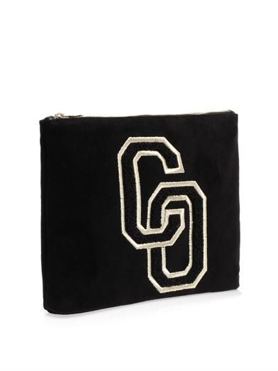 Charlotte Olympia Varsity suede clutch
