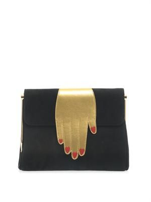 The Hand Bag suede clutch