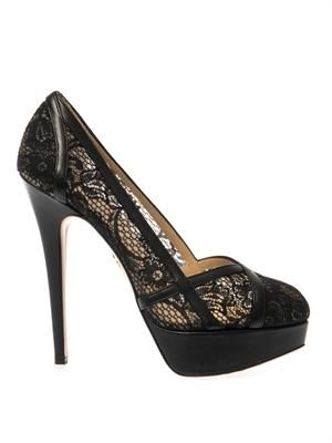 Morwenna lace and leather pumps
