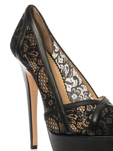Charlotte Olympia Morwenna lace and leather pumps