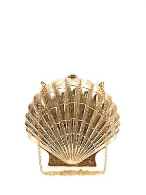 Shell Shocked gold-tone clutch