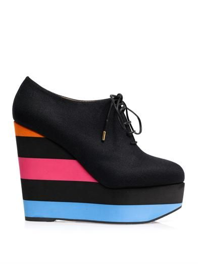 Charlotte Olympia Martha stripe wedge ankle boots