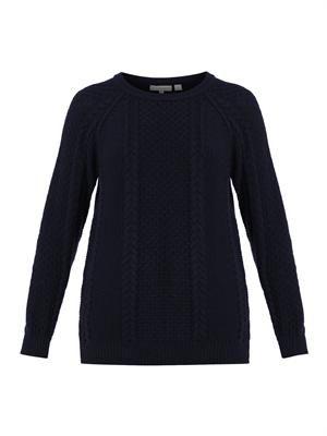 Aran-knit navy wool sweater