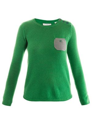 Contrast pocket cashmere sweater