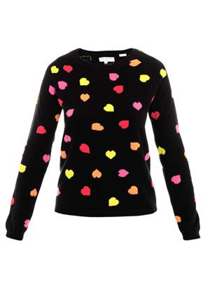 Multi neon all-over heart sweater