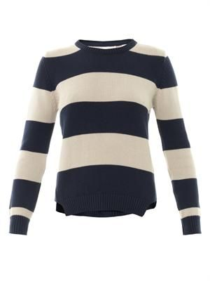 Striped cotton-knit sweater