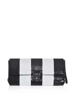The skunk sequin stripe clutch