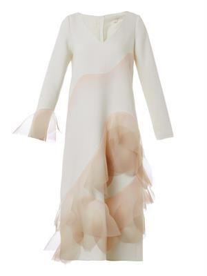 Ruffle-skirt long sleeve dress