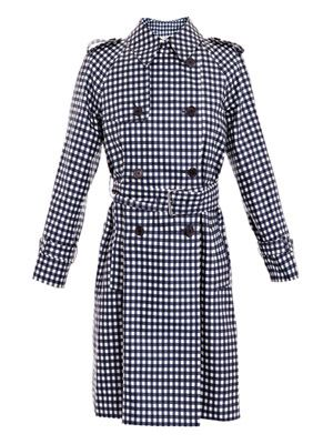 Gingham-print trench coat