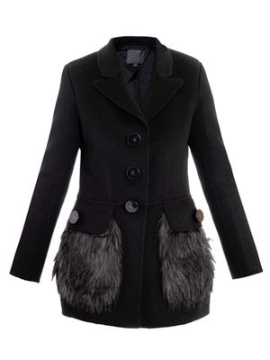 Faux-fur trimmed coat