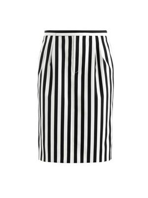 Stripe techno-twill skirt