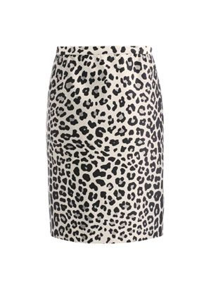Satin leopard-print pencil skirt