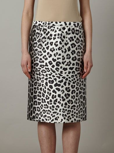 Marc Jacobs Satin leopard-print pencil skirt