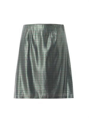 Micro-plaid silk-lamé pencil skirt