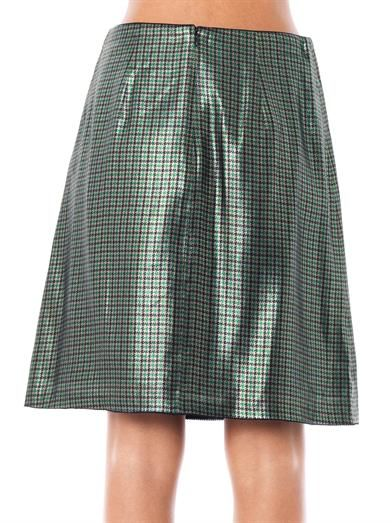 Marc Jacobs Micro-plaid silk-lamé pencil skirt