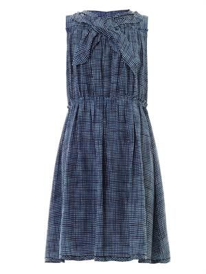 Gingham sketch-print silk sleeveless dress
