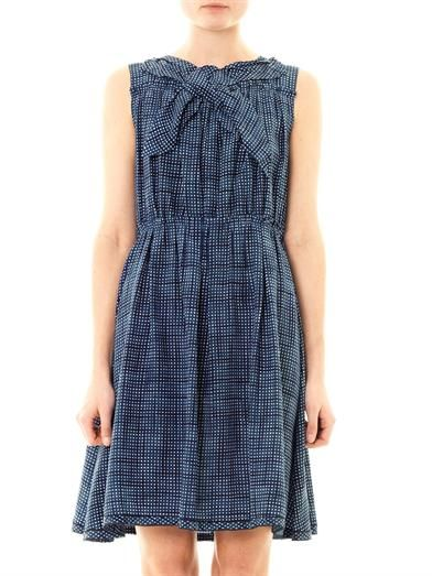 Marc Jacobs Gingham sketch-print silk sleeveless dress
