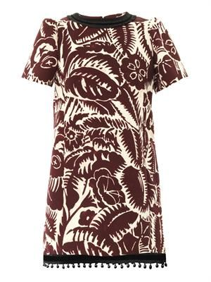 Floral-print cotton-piqué shift dress