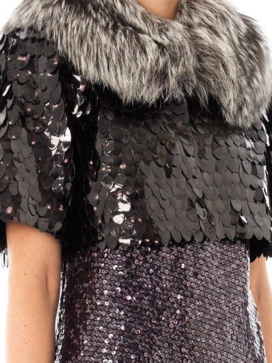 Marc Jacobs Owl sequin cropped fur jacket