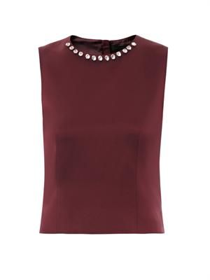 Embellished satin top
