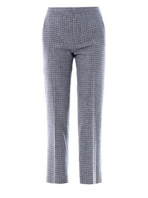 Mini-plaid tweed trousers