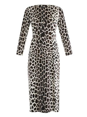 Silk jersey leopard-print dress
