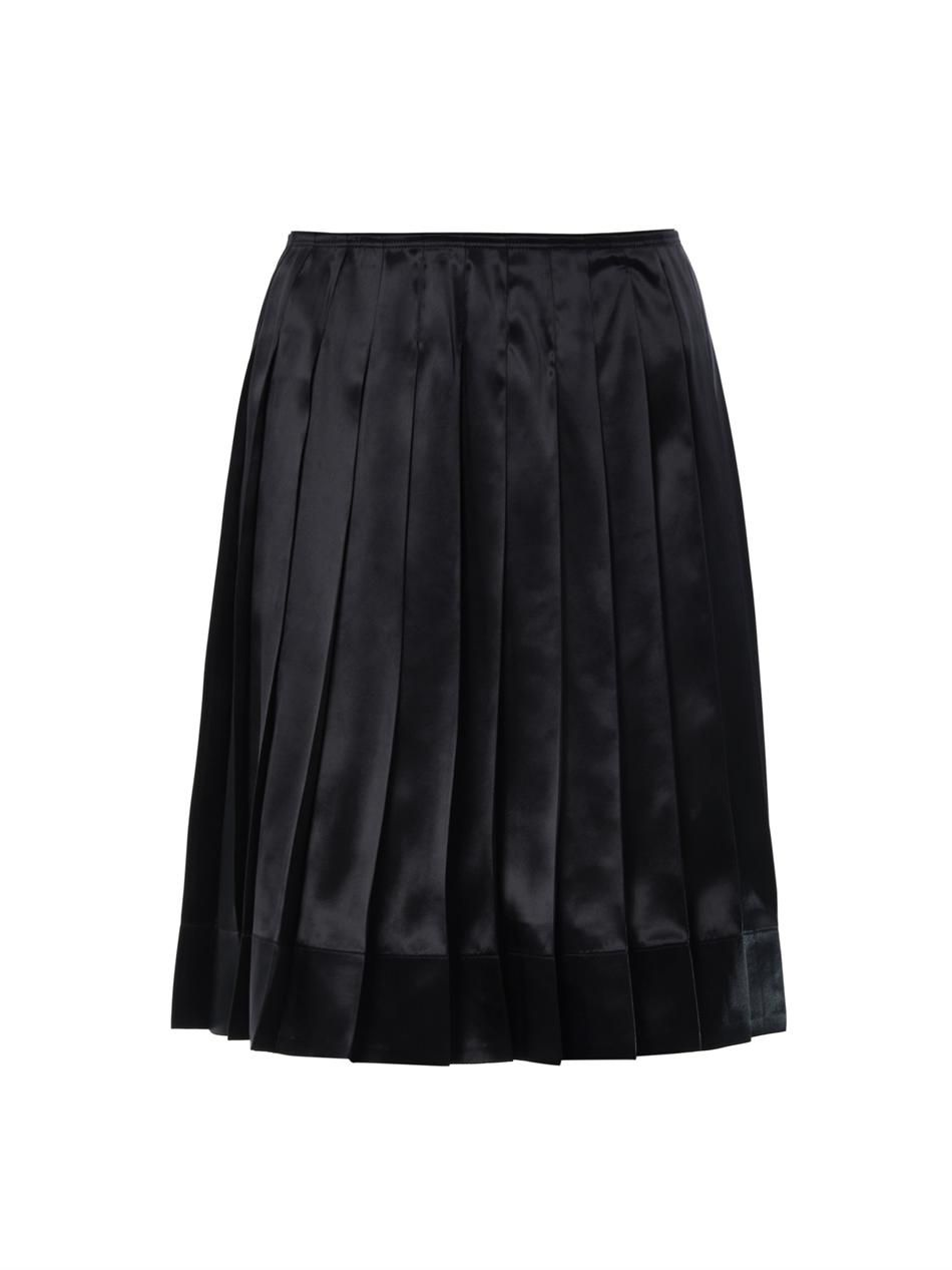 Pleated silk-satin skirt