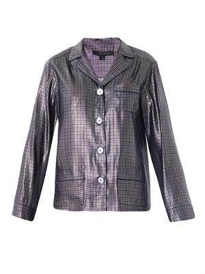 Micro-plaid silk-lame pyjama shirt