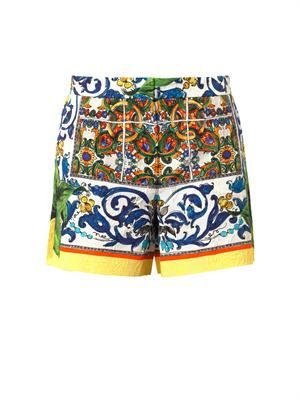 Sicilian orange-print jacquard shorts