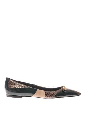 Bellucci leather and snakeskin flats