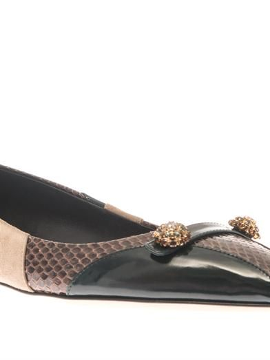 Dolce & Gabbana Bellucci leather and snakeskin flats