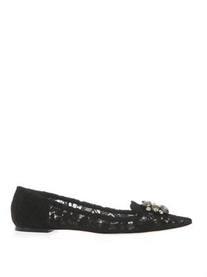 Bellucci embellished lace flats