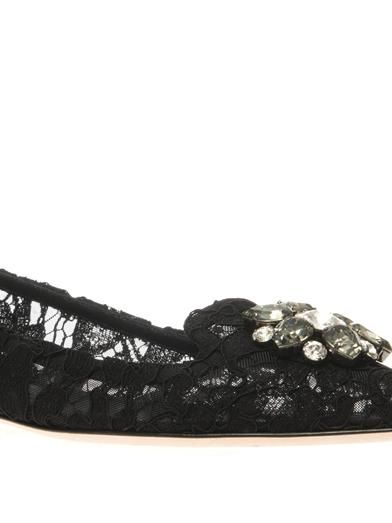 Dolce & Gabbana Bellucci embellished lace flats
