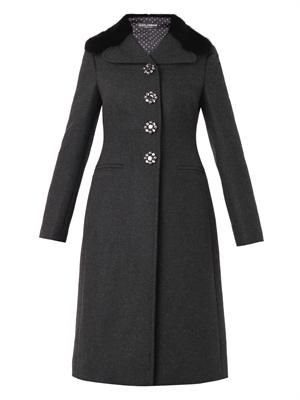 Mink-fur-collar wool-blend coat