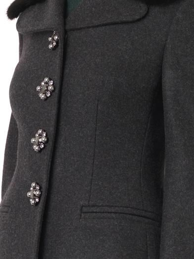 Dolce & Gabbana Mink-fur-collar wool-blend coat
