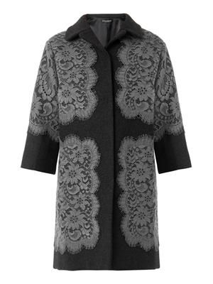 Lace appliqué wool coat