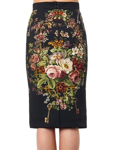 Dolce & Gabbana Floral-print cady pencil skirt