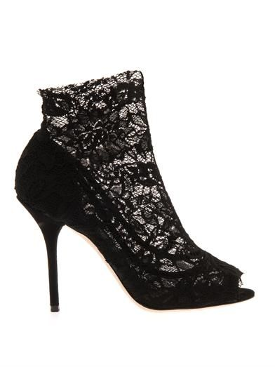 Dolce & Gabbana Crystine lace ankle boots