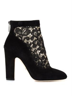 Vally lace and suede boots