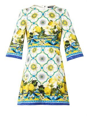 Sicilian lemon-print jacquard dress