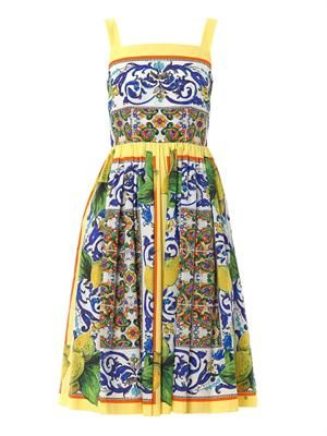 Sicilian Lemon-print full-skirt dress